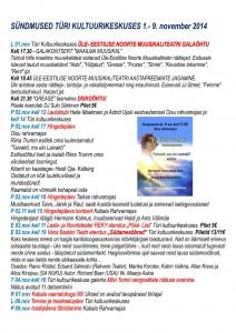 sündmused Türi Kultuurikeskuses 1.-9.nov